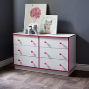 South Shore Logik 6-Drawer Double Dresser, Pure White and Pink , 47.5'' (L) x 17'' (D) x 29.5'' (H)