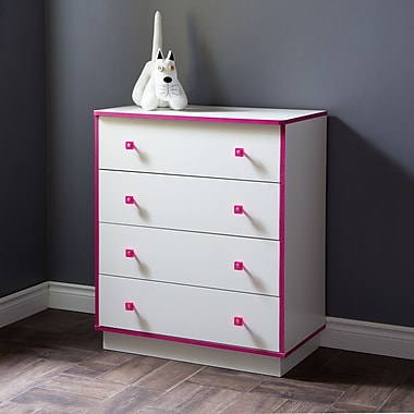 South Shore – Commode à 4 tiroirs Logik, blanc pur et rose, 31,5 larg. x 17 prof. x 37,75 haut. (po)