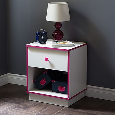 South Shore Logik 1-Drawer Nightstand, Pure White and Pink , 19.5'' (L) x 16.5'' (D) x 23.25'' (H)