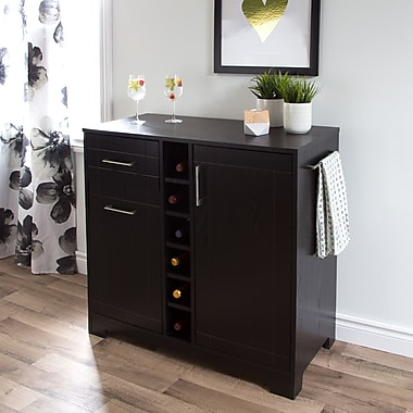 South Shore Vietti Bar Cabinet with Bottle and Glass Storage, Black Oak , 35.75'' (L) x 17'' (D) x 36.75'' (H)