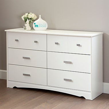 South Shore – Commode à 6 tiroirs Tiara, blanc pur, 16,5 larg. x 53,25 prof. x 32,5 haut. (po)