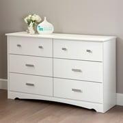 South Shore Tiara 6-Drawer Double Dresser, Pure White , 16.5'' (L) x 53.25'' (D) x 32.5'' (H)