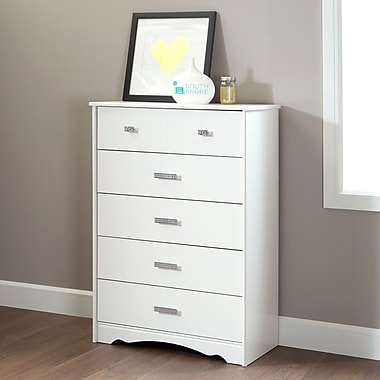 South Shore Tiara 5-Drawer Chest, Pure White , 16.5'' (L) x 31.5'' (D) x 45.5'' (H)