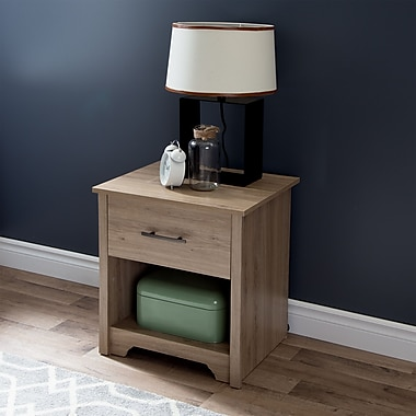 South Shore Fusion 1-Drawer Nightstand, Rustic Oak , 21.25'' (L) x 17'' (D) x 23.25'' (H)