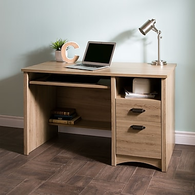 South Shore – Bureau d'ordinateur Gascony avec tiroir à clavier, chêne rustique, 23,5 larg. x 47,5 prof. x 30,625 haut. (po)