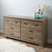 South Shore Versa 6-Drawer Double Dresser, Weathered Oak , 59.13'' (L) x 16.43'' (D) x 31.02'' (H)