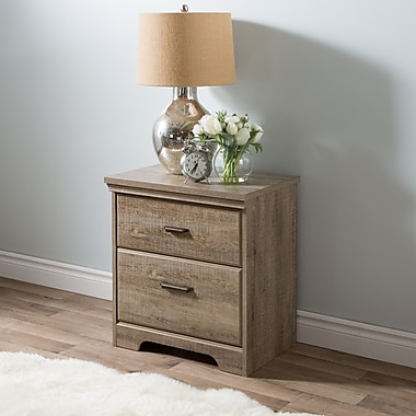 South Shore Versa 2-Drawer Nightstand, Weathered Oak , 23.54'' (L) x 16.43'' (D) x 25.87'' (H)
