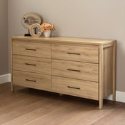South Shore – Commode double à 6 tablettes Gravity, chêne rustique, 16,5 larg. x 59,29 prof. x 32,75 haut. (po)