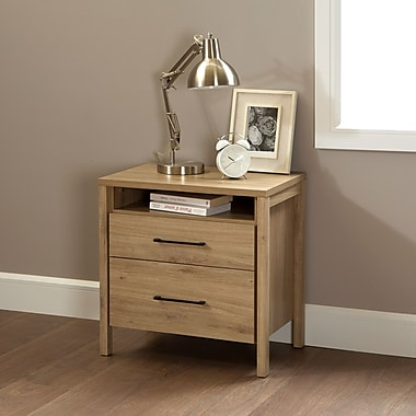 South Shore Gravity 2-Drawer Nightstand, Rustic Oak , 16.5'' (L) x 23.5'' (D) x 23.5'' (H)