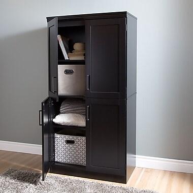 South Shore Morgan 4-Door Shaker Armoire, Pure Black , 18.25'' (L) x 31.25'' (D) x 62.5'' (H)