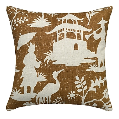 123 Creations Floral Chinoiserie Linen Throw Pillow