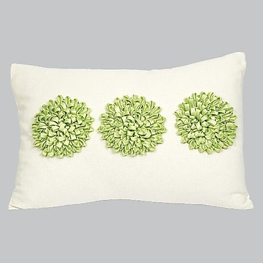 Jubilee Collection 3 Dahlia's Throw Pillow; Green