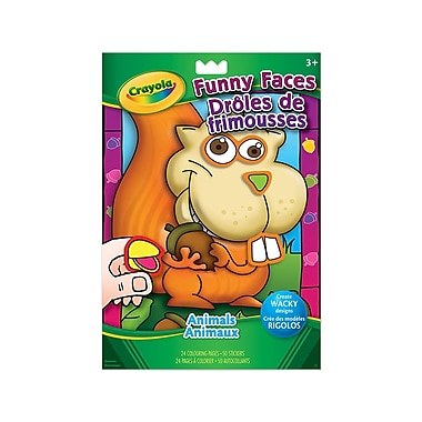 Crayola® Funny Faces Colouring and Sticker Book, Animals and People, 12/Pack
