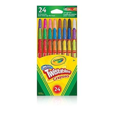 Crayola® - Mini crayons de cire Twistables, couleurs variées, 24 par pochette, paq./12