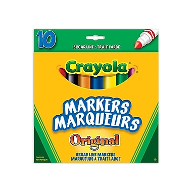 Crayola® 10-Piece Broad Line Classic Colour Markers, 12/Pack