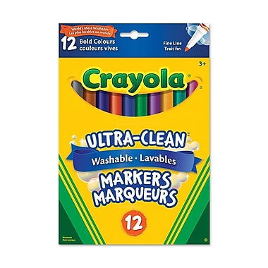 Crayola® Washable Fine Line Markers, Bold Colours, 12 per Box, 12/Pack