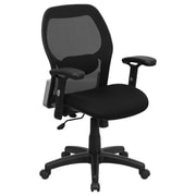 Flash Furniture Fabric Computer and Desk Office Chair, Adjustable Arms, Black (LFW42BMBK)