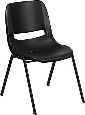 Flash Furniture HERCULES Series 880 lb. Capacity Ergonomic Shell Stack Chair with Padded Seat and Back, Black