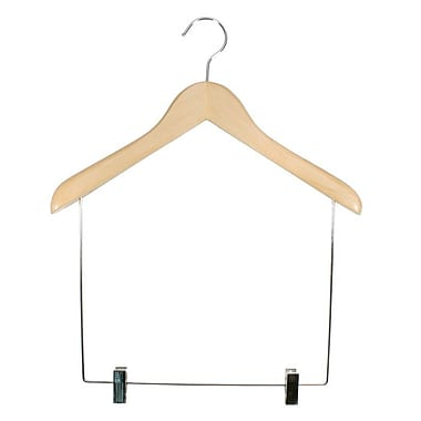 Wood Concave Flared Shaper Display Hanger, Chrome Hook, Natural, 17