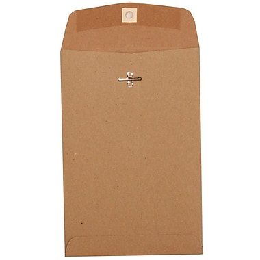JAM Paper® 6 x 9 Open End Catalog Envelopes with Clasp Closure, Brown Kraft Paper Bag Recycled, 25/pack (563120844)