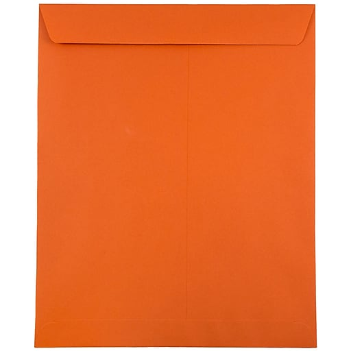 JAM Paper® 10 x 13 Open End Catalog Colored Envelopes, Orange Recycled, 100/Pack (87766)