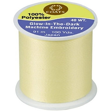 Glow In The Dark Machine Embroidery Threadm, Yellow, 100 Yards