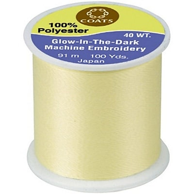Glow In The Dark Machine Embroidery Thread, Yellow, 100 Yards