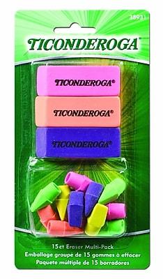 Dixon Ticonderoga® Neon Eraser Multi-pack, Assorted, 15/Pack