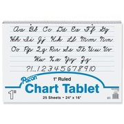 "Chart Tablet Writing Paper, Cursive, 1"" Ruled, 24"" x 16"""