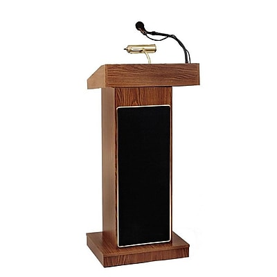 Oklahoma Sound® Corp Sound Podium, Orator Sound Podium, Medium Oak, 46Hx22Wx17