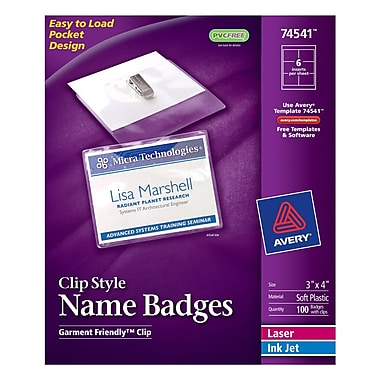 Avery Top Loading Clip Style Name Tags, 3