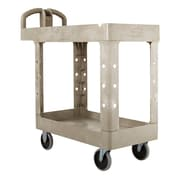 "Rubbermaid Heavy-Duty 2-Shelf Plastic Cart, 18""W, Beige"
