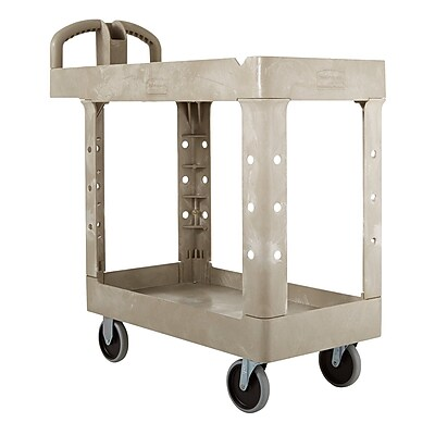 Rubbermaid Heavy-Duty 2-Shelf Plastic Cart, 18