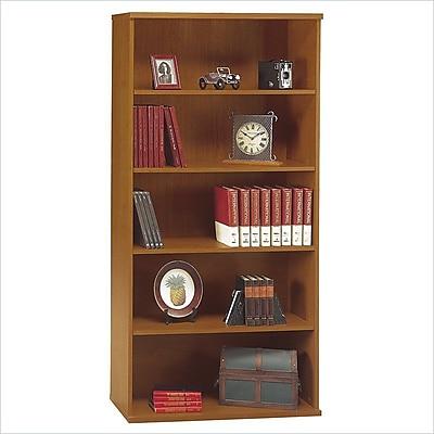 Bush Business Westfield 36W 5 Shelf Bookcase, Natural Cherry/Graphite Gray