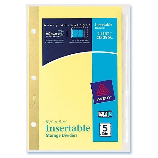 Avery Worksaver 5 12 X 8 12 Insertable Standard Tab Dividers