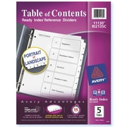 Avery® 5-Tab Ready Index® Classic Black & White Table of Contents Dividers