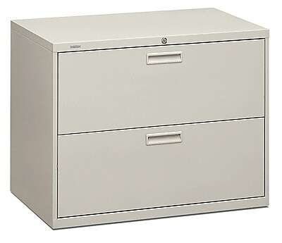 HON® Brigade® 500 Series 2 Drawer Lateral File Cabinet, Letter/Legal, Light Grey, 36