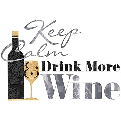 RoomMates® Keep Calm & Drink Wine Quote Peel and Stick Wall Decal, 9