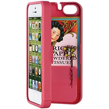 Eyn case for iPhone 5/5s with Hinged Storage Back, Pink