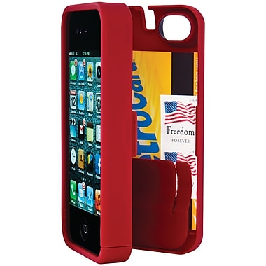 Eyn case for iPhone 4/4S with Hinged Storage Back, Red