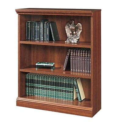 Sauder Premier 3-Shelf Composite Wood Bookcase, Planked Cherry Finish