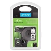 "Dymo® D1 Series Label Tape, 1/2"" x 18', Black on White"