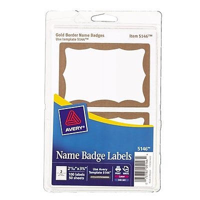 Avery® Print or Write Name Tags, Gold Border, 2 11/32