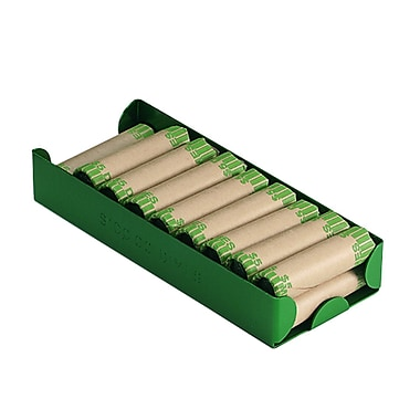 MMF Industries™ Aluminum Rolled Coin Storage Trays, $100 Dimes, Green, 1 5/16