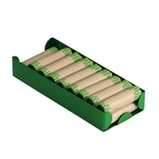 """MMF Industries™ Aluminum Rolled Coin Storage Trays, $100 Dimes, Green, 1 5/16""""H x 7 1/2""""W x 3 1/8""""D"""