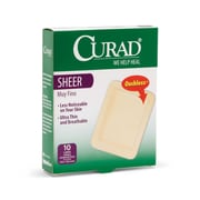 "Medline® Curad® Sheer Fabric Adhesive Bandage, 3""X4"", 10/Pack"