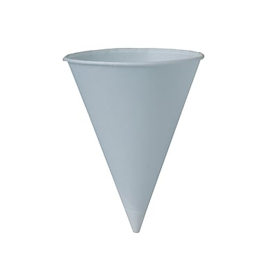 Solo® Rolled Rim Treated Paper Cone Water Cup, White, 4 oz, 500/Case