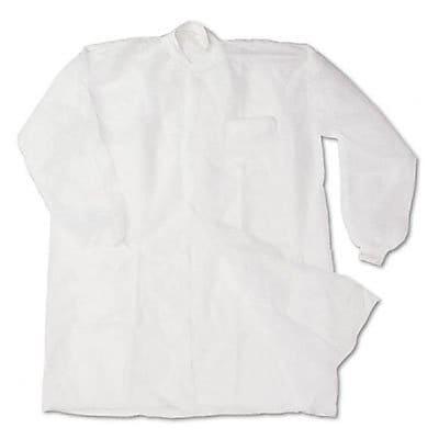 Disposable Lab Coats, Spun-Bonded Polypropylene, Large, White, 30/Box