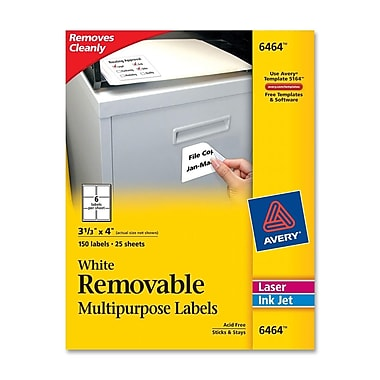 Avery® 6464 Removable Inkjet/Laser Labels, 3-1/3