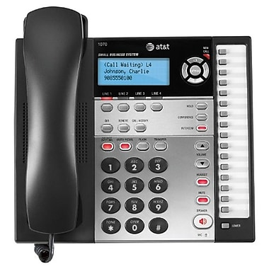 AT&T 1070 4-Line Expandable Small Business Telephone with Caller ID, Black/Silver